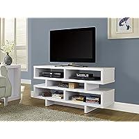 Monarch Specialties White Hollow-Core TV Console, 48-Inch