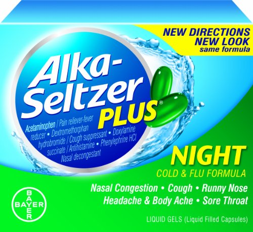 Alka-seltzer Plus Night Cold Liquid Gels, 20-Count (Pack of 2)
