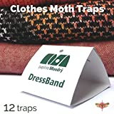 DressBand Clothes Moth Traps 12 Pack - Pheromone Glue Pre-Baited Traps, Odorless and Non-Toxic