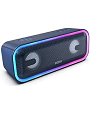 DOSS SoundBox Pro+ Wireless Bluetooth Speaker with 24W Impressive Sound, Booming Bass, Wireless Stereo Paring, Mixed Colors Lights, IPX5 Waterproof, 15 Hrs Battery Life, 67 ft Bluetooth Range - Blue
