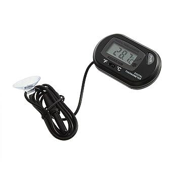Mini acuario Negro pescado tanque de agua sumergible impermeable LCD termómetro digital con conexión de cable
