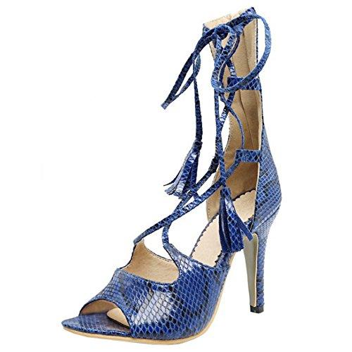 TAOFFEN Women Fashion Elegant Stiletto Cross Strap Sandals With Zipper Blue