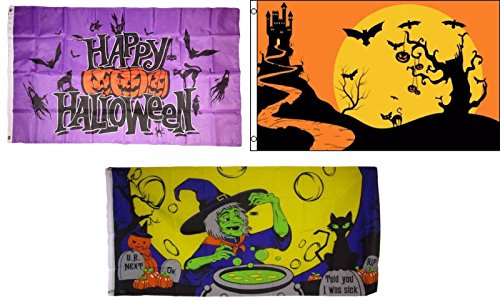 ALBATROS 3 ft x 5 ft Happy Halloween 3 Pack Flag Set #131 Combo Banner Grommets for Home and Parades, Official Party, All Weather Indoors -