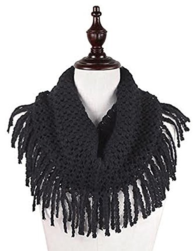 StylesILove Two Tone Womens Winter Warm Mini Tube Infinity Scarf With Fringe (One Size Fits All, Black)
