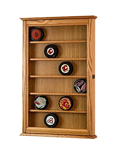 Hockey Puck Display Case-Wall Hanging Cabinet-Oak *Made in the USA* -