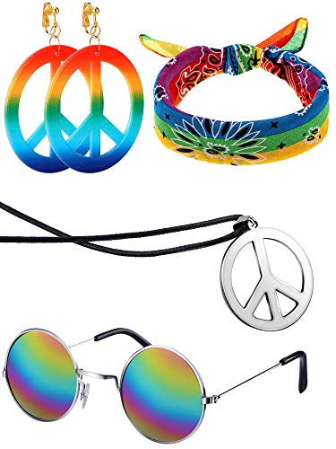 4 Pieces 70s Hippie Accessory Set Hippie Style Peace Sign Earrings Necklace Hippie Glasses Headband for Women Girls (Plastic Headband Peace)