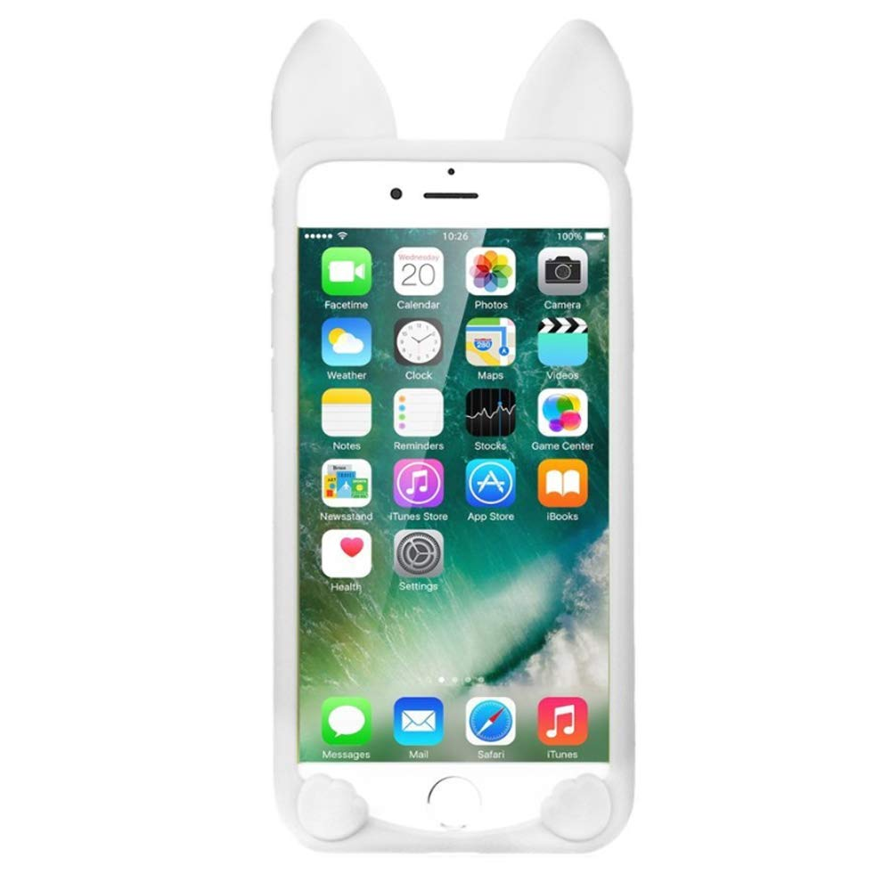 5.5' iPhone 7 Plus Cover,Soft TPU iPhone 8 Plus Case,Sammid Lovely Cute Cartoon Cat Shape Soft Silicone Case for iPhone 7/8 Plus - Hot Pink