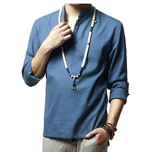 Button Down Long Sleeve Henley - WSLCN Men's Linen Casual Henley Neck Shirts Long Sleeve Solid Color Thin Button-Down Slim Fit Rollup Sleeve Shirt Blue US M (Asian XL)