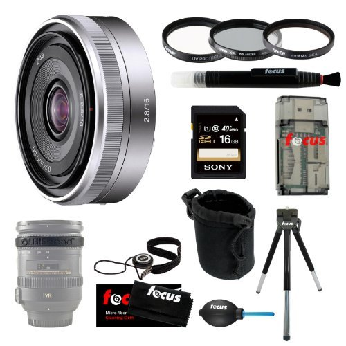 Sony SEL16F28 SEL-16F28 Interchangeable Alpha E-mount 16mm F2.8 Lens (Silver) for NEX Camera + Sony 16GB SD Card + Tiffen 49mm Photo/Video Essentials Filter Kit + Small Neoprene DSLR Case + Accessory Kit - Sony K4 Video Camera