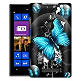 Nokia Lumia 925 Case, Slim Fit Snap On Cover by Trek Highlighted Butterfly Blue on Black Case