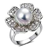 Gnzoe Jewelry, Silver Plated Womens Wedding Ring Cubic Zirconia Pearl Lab Created Flower