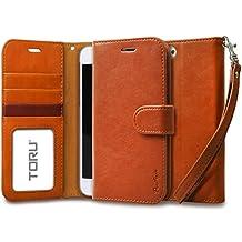 iPhone 6S Plus Case, TORU [Prestizio Wallet] iPhone 6S Plus Wallet Case with [CARD SLOT][ID HOLDER][KICKSTAND][WRIST STRAP] - Premium Wristlet Leather Flip Cover Case for iPhone 6/6S Plus - Brown