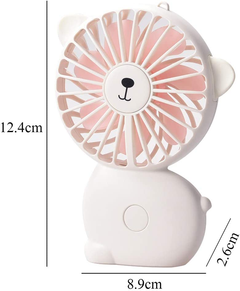 HLSH Mini Cartoon with Night Light Hanging Neck Handheld Fan USB Rechargeable Adjustable Mute Portable Desktop Office Outdoor
