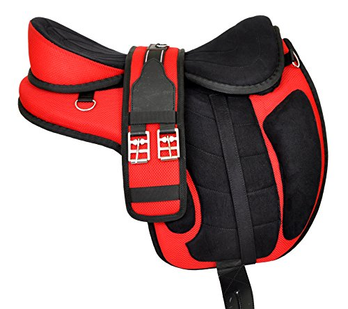 (Manaal Enterprises All Purpose Synthetic Treeless Freemax English Red Horse Saddle 18