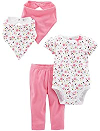 Baby Girls' 4-Piece Bodysuit, Pant, and Bibs Set