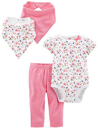 Simple Joys by Carter's Baby Girls' 4-Piece Bodysuit, Pant, Bib and Cap Set, Pink Floral, 18 Months