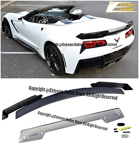 Extreme Online Store Z06s Z07 Performance Stage 3 Style Rear Trunk Lid Abs Plastic 3Pcs Full Spoiler Wing Lip W Light Tinted Wicketbill For 2014 Present Chevrolet Corvette C7 All Models