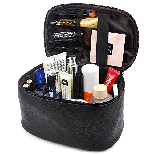 Makeup Bag,365park Travel Cosmetic Case Organizer Bag with Brush Holder Wonderful Gift(Z005/Black)