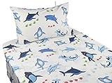 J-pinno Cute Cartoon Blue Shark Printed Twin Sheet Set for Kids Boy Children,100% Cotton, Flat Sheet + Fitted Sheet + Pillowcase Bedding Set