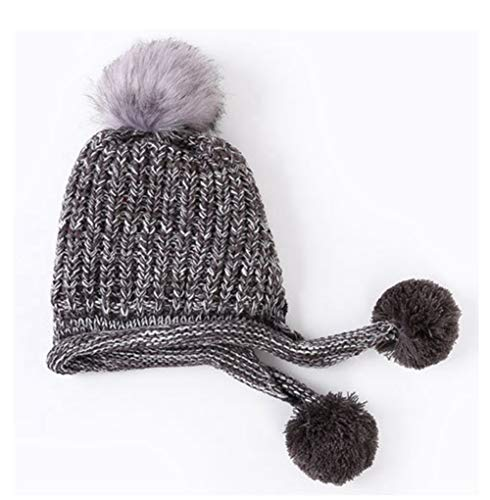 (RQH Women Slouchy Beanies Winter Hats Real Fur Cable Knit Hat Ski Caps with Earflap Pom)
