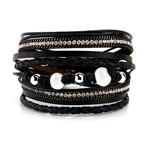 EGOO YAMEE Leather Multilayer Wrap Bracelet - Pearl Boho Braided Cuff Bangle - with Magnetic Buckle Wristband Handmade Jewelry for Women and Girls (Black) (Wrap Around Buckle)