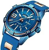 Watch,Mens Watches Fashion Business Design Unique Original Waterproof Quartz Wrist Watch Multifunction Calendar Week Display Blue with Silicone Band