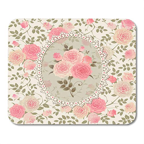 Nakamela Mouse Pads Flower Pink Vintage Shabby Chic Rose Pattern Lace with Bouquet of Roses on Floral Green Pastel Decoupage Mouse mats 9.5