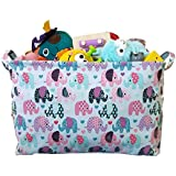 Toy Storage Basket and Canvas Box Organizer with Elephant...