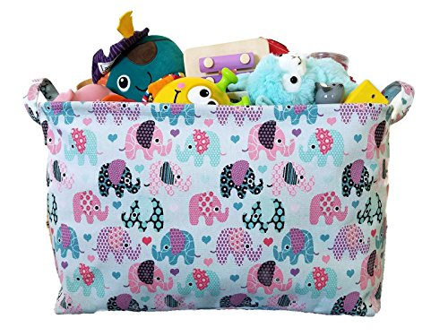 (Toy Storage Basket and Canvas Box Organizer with Elephant Prints for Kids Toys and Nursery Storage, Baby Hamper,Book Bag, Laundry Clothing Bin and Baby Shower Gift)