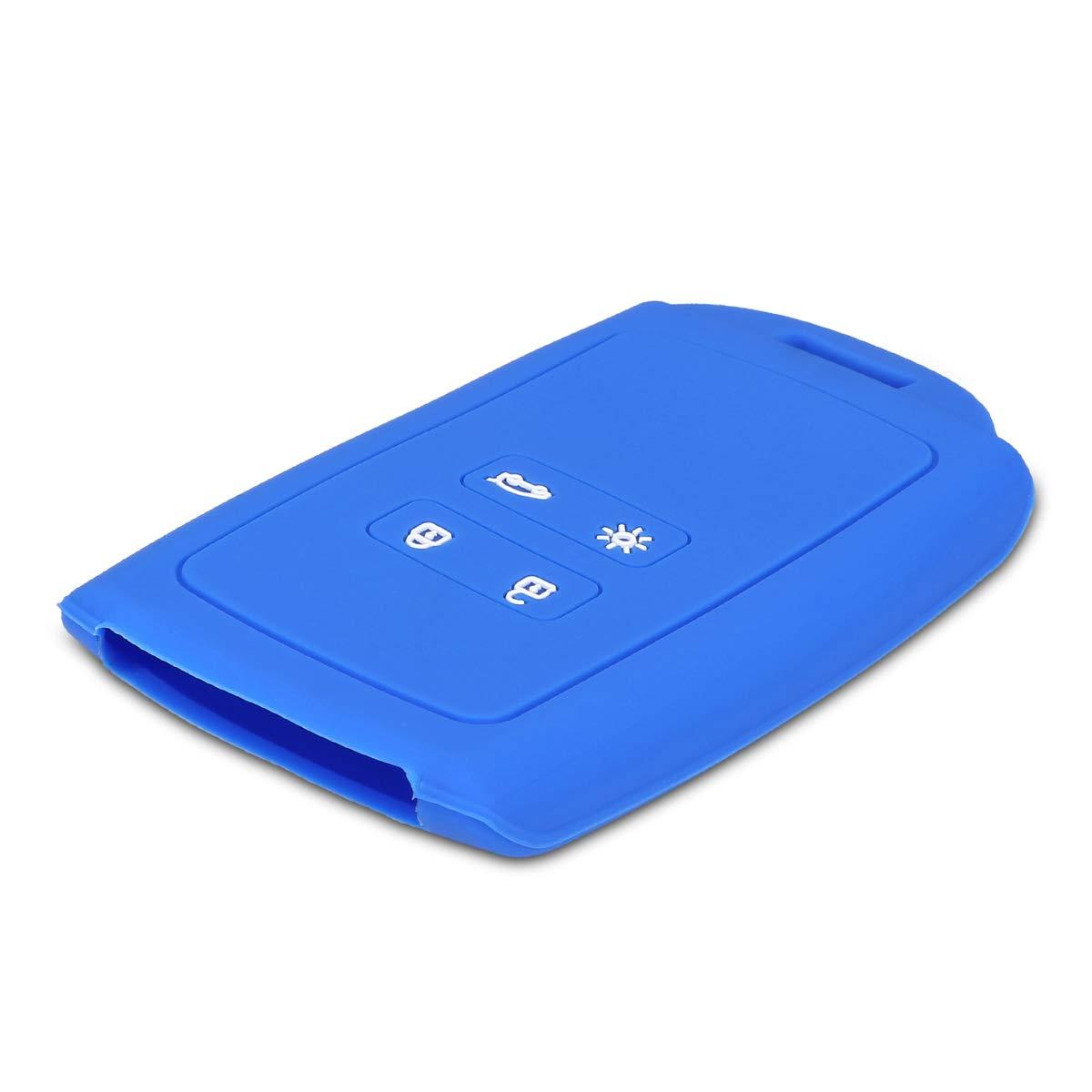 Coque Silicone pour Clef de Voiture Smart Key Renault 4-Bouton Keyless Go Uniquement Bleu-Noir - /Étui Souple avec Embout Porte-Cl/é kwmobile Accessoire Cl/é de Voiture pour Renault