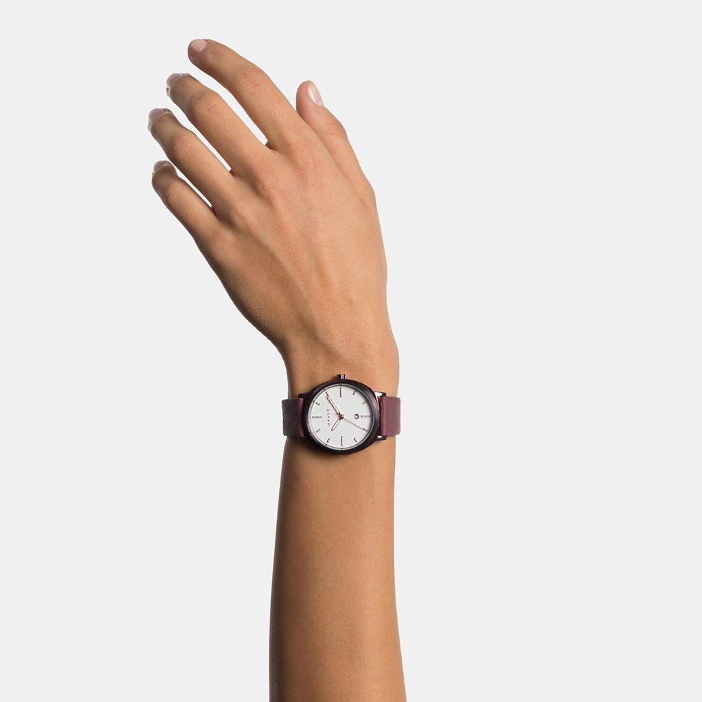 HAVET | Reloj de mujer Amura de acero color burdeos y blanco con correa piel burdeos: Amazon.es: Relojes