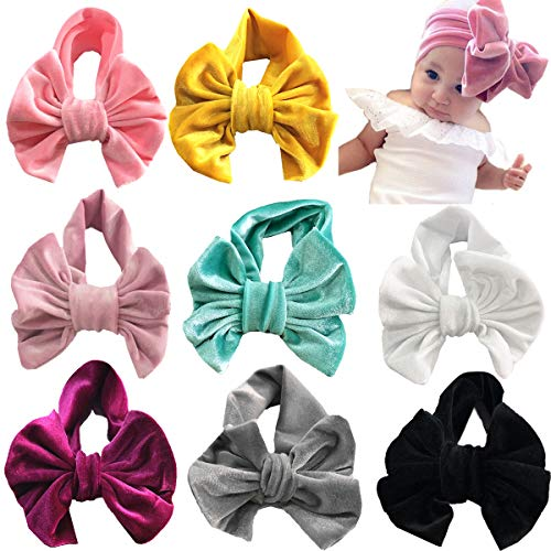 8PCS Baby Girls Headbands Turban Head Wrap Soft Velvet Knotted Hairbands for Toddlers Kids Children (Oversized Baby Wrap)