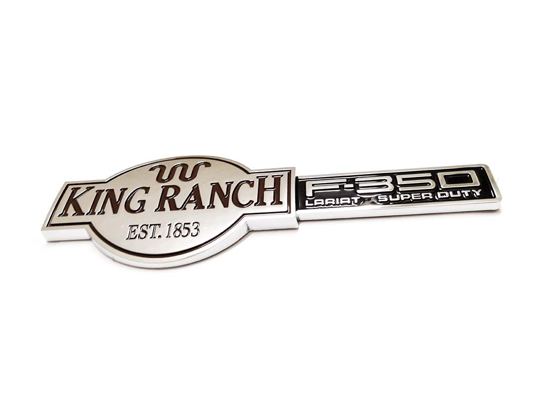 2pcs King Ranch F350 3D Emblems Badges Nameplate Door Tailgate Replacement for F-350 Chrome Aruisi