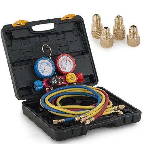 ARKSEN 4Valve Manifold Gauge, Hi/Low Adapters, Brass HVAC A/C, w/ Carrying Case Black