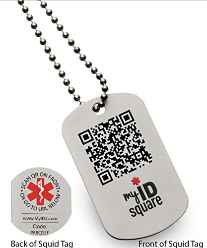 Into the Black Squid Medical Alert ID Dog Tag using QR code - No engraving - My Id Square