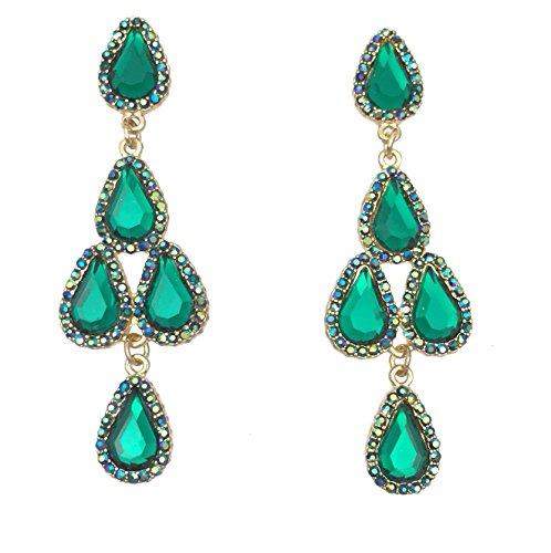 AB Rhinestone Prom Formal Teardrop Cluster Dangle Gold Tone Earrings (Green)