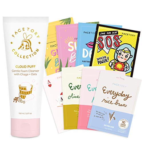 FaceTory Combination Skin Type Facial Sheet Mask Pack of 8 with Oat Facial Cleanser Pack - Hydrating, Calming, Balancing, Oil-Control, Smoothing, Moisturizing