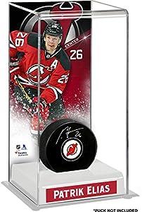 Patrik Elias New Jersey Devils Deluxe Tall Hockey Puck Case - Fanatics Authentic Certified - Hockey Puck Display Cases No Logo
