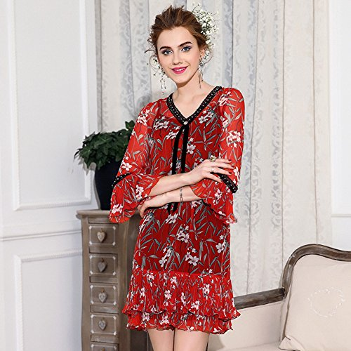 Sexy Cotyledon V Color Neck Dresses Suit Printed Autumn Dress Women