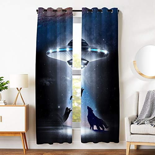 Price comparison product image SXCHEN Blackout Curtains 3 Panels Grommet Curtains for Bedroom UFO Cat Wolf Galaxy Star W54 x L84 Inch