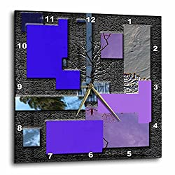 3dRose dpp_47535_3 Blue, Purple, Lilac & Chrome with Raised Rectangles to Look Modern Wall Clock, 15 by 15