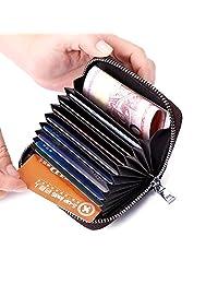 Credit Card Holder Wallet, RFID Blocking Leather Zipper Card Holder case Accordion Wallet for Women/men (Black)