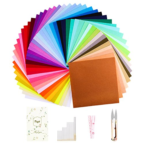 (Fuyit 48Pcs Felt Fabric Sheets Squares 6