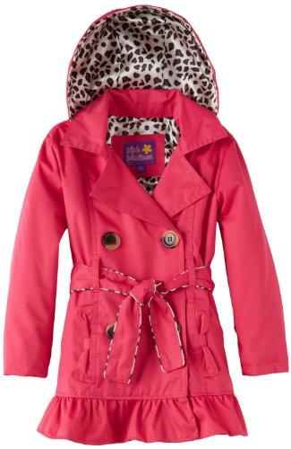 Pink Platinum Big Girls Leopard Lining Trench Raincoat Jacket, Fuchsia, (Fleece Leopard Coat)