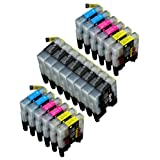 20 Pack Compatible Brother LC-61 , LC-65 8 Black, 4 Cyan, 4 Magenta, 4 Yellow for use with Brother MFC-J410, DCP-145C, DCP-165C, DCP-195C, DCP-375-CW, DCP-385C, DCP-395-CN, DCP-585-CW, DCP-6690-CW, DCP-J125, MFC-250C, MFC-255-CW, MFC-290C, MFC-295-CN, MFC-490-CW, MFC-495-CW, MFC-5490-CN, MFC-5890-CN, MFC-5890-CN, MFC-5895-CW, MFC-6490-CW, MFC-790-CW, MFC-795-CW, MFC-990-CW, MFC-J220, MFC-J410, MFC-J415-W, MFC-J615-W. Ink Cartridges inkjet. LC-61-BK , LC-61-C , LC-61-M , LC-61-Y © Zulu Inks