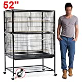 World Pride Large Pet Parrot Bird Finch Wrought Iron Flight Cage, Rolling Birdcage,52