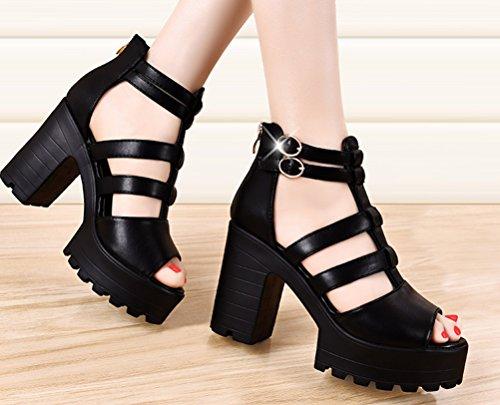Dunhu Kvinnor Mode Plattform Sandal Chunky Hög Klack Walking Sandal (svart / Beige) Svart