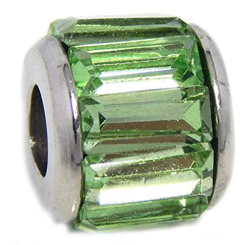 Stainless Steel Spacer with Rectangular Light Green CZ Bead for Bracelets