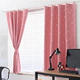 Star Print Blackout Thermal Window Curtain Entire Shade Polyester Drapes Valance Color:Pink