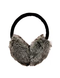 ZLYC Womens Girls Winter Fashion Adjustable Faux Fur EarMuffs Ear Warmers, Gray